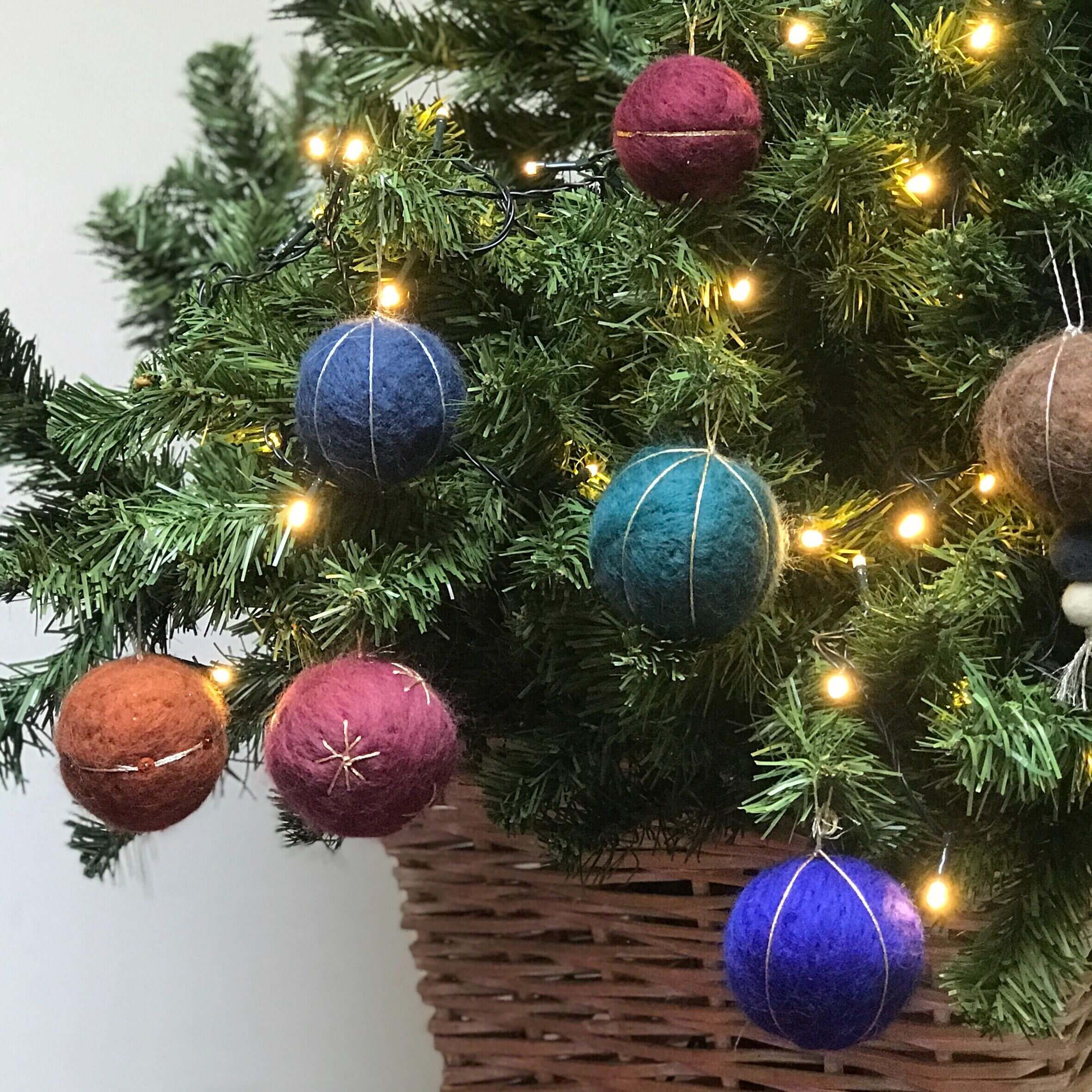 Felted Christmas Baubles in Tree
